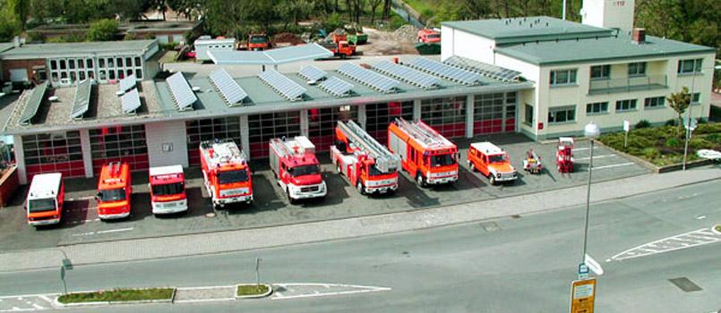 Das Feuerwehrhaus der Feuerwehr Walldorf: Vorderansicht
